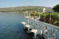 Summer palace at Jag Mandir island on Pichola lake,Udaipur,India Stock Photo