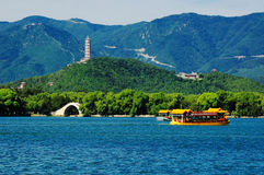 The Summer Palace lake and bridge Royalty Free Stock Photos