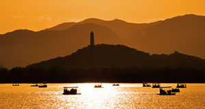 Summer Palace lake sunset Royalty Free Stock Image