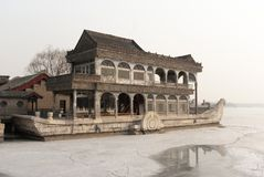 Summer palace marble boat during winter stock photo