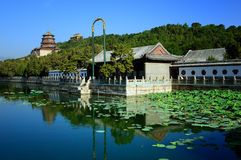 The Summer Palace Royal telephone line. The Summer Palace is the archetypal Chinese garden, and is ranked amongst the most noted and classical gardens of the Stock Photo
