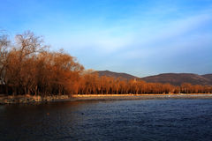 Summer palace in winter morning. The summer palace in autumn Stock Photo