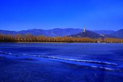 Summer palace in winter morning Royalty Free Stock Photo