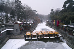 Summer palace in winter. Suzhou street,Summer palace in winter,just after snowing Stock Photos
