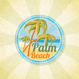 Summer palm beach retro background. Vector Royalty Free Stock Image