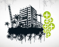 Summer Palm City. Vector Illustration Royalty Free Stock Photo