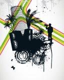 Summer Palm City Rainbow. Vector Illustration Royalty Free Stock Image