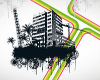 Summer Palm City Rainbow. Vector Illustration Stock Images