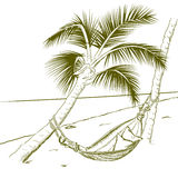 Summer palm and hammock line drawing Stock Images