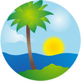 Summer palm island vector scene Stock Image