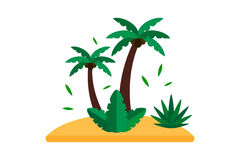 Summer palm seascape vector. Royalty Free Stock Photos