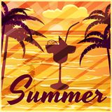 Summer, palm trees, sea, evening, cocktail, banner, vector illustration stock illustration