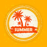 Summer with palms sign, orange round drawn label Royalty Free Stock Image