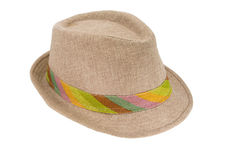 Summer panama straw hat isolated on white Royalty Free Stock Photos
