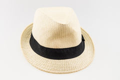 Summer panama straw hat isolated on white. Fashion accessories Stock Image