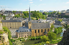 Abbey de Neumunster in Luxembourg City. Summer panorama of Abbey de Neumunster in Luxembourg City Royalty Free Stock Photos