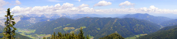 Summer panorama alps. Panoramic summer view of Alps mountains with blue sky austria, styria Stock Image