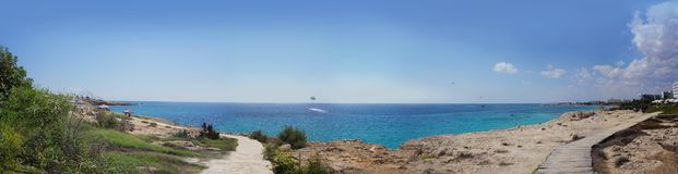 Summer panorama of the blue sea royalty free stock image