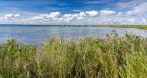 Summer panorama for bridge to Oland island Royalty Free Stock Photography
