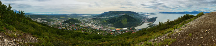 Summer panorama the center of Petropavlovsk-Kamchatsky and Avacha Bay. View from Mishennaya hills. Summer panorama the center of Petropavlovsk-Kamchatsky and royalty free stock photo