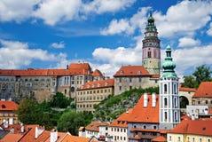 Summer panorama of Cesky Krumlov royalty free stock photo