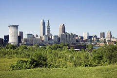 Summer panorama of Cleveland Stock Photo