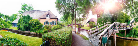 Summer panorama of  dutch village Stock Image