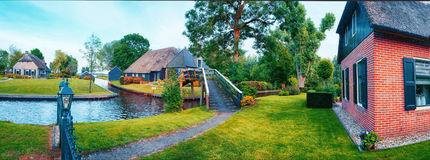 Summer panorama of  dutch village Royalty Free Stock Photo
