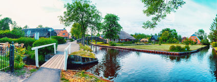 Summer panorama of  dutch village Royalty Free Stock Photography