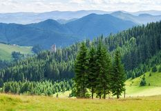 Summer panorama landscape of wooded mountains. Stock Photo