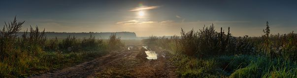 Free Summer Panorama Of Dawn Over The Field And Country Road Stock Photo - 158380310