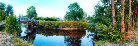 Summer panorama of  in old dutch village Royalty Free Stock Images