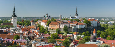 Summer panorama of the Old Town of Tallinn,Estonia stock image