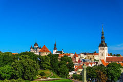 Summer panorama of Old Town in Tallinn, Estonia Royalty Free Stock Photos