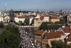 Summer panorama of Prague Stock Photos