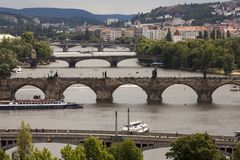 Summer panorama of Prague Royalty Free Stock Photography
