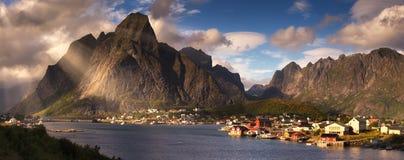 Summer panorama of Reine, Norway, Lofoten Islands Stock Photography