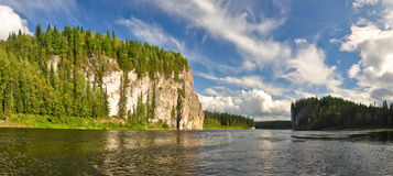 Summer panorama of the river in the Northern Urals. Royalty Free Stock Photo
