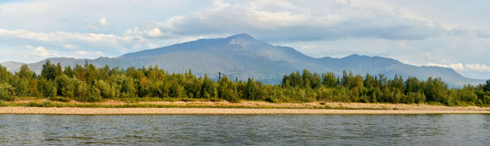 Summer panorama of the river in the Northern Urals. Royalty Free Stock Photography