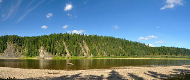 Summer panorama of the river in the Northern Urals. Stock Image