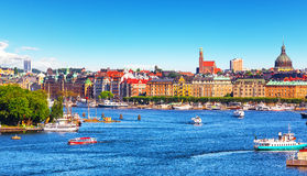 Summer panorama of Stockholm, Sweden Royalty Free Stock Images