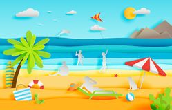 Summer panorama of tropical beach with people royalty free stock photography