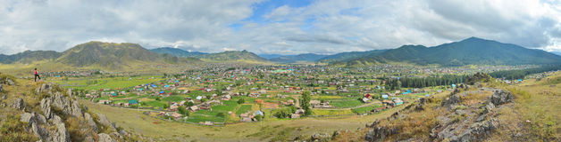 Summer panorama of the village Ongudai, Altai Siberia, Russia Royalty Free Stock Photo