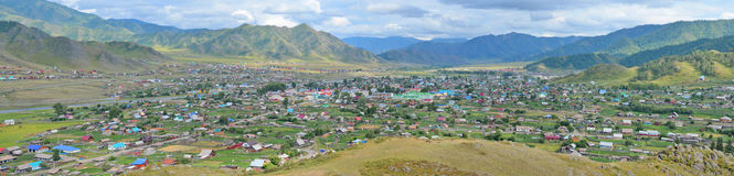Summer panorama of the village Ongudai, Altai Siberia, Russia Stock Images