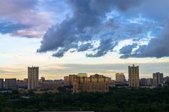 Summer panoramic view. Dramatic stormy sky over the environmentally friendly comfortable residential district in Moscow. stock photo