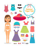 Summer paper doll. Girl with dress and hat. Cute dress up paper doll. Body template, outfit and accessories. Summer collection Stock Photo