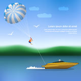 Summer parachuting over river with boat. Royalty Free Stock Photos