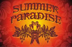 Summer Paradise. Sunset, ezotik flowers, graphic design and describes the magical atmosphere of the summer vector illustration