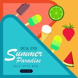Summer paradise abstract background with fruits and ice-creams. vector illustration