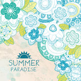 Summer Paradise background with flowers Stock Image